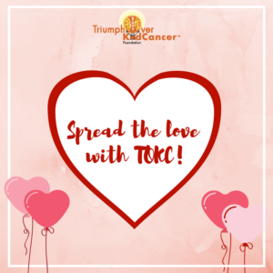 Spread the love with TOKC! in red handwritten lettering inside a white heart with a red outline on a pink background